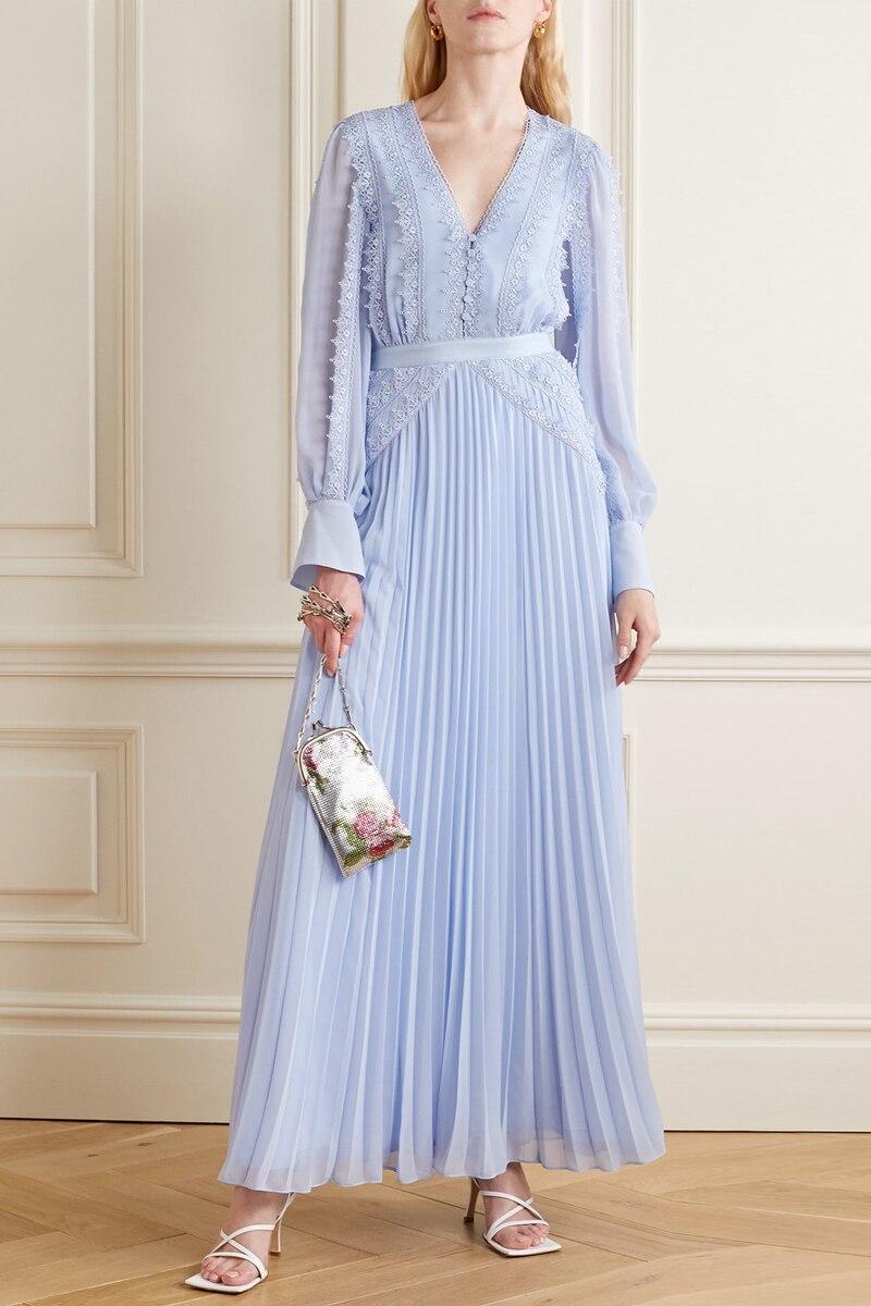 French Dress Female Waist Temperament Blue Long Skirt V-neck Lace Chiffon Pleated Fairy Skirt Plus Size Mermaid Dress