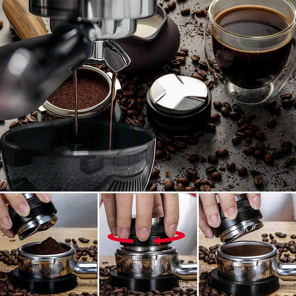 موزع القهوة بعمق قابل للتعديل, موزع قهوة اسبريسو معزز بعمق قابل للتعديل قطر 53 مللي متر ، ميزان رأس مزدوج لمروحة فلتر القهوة 54 مللي متر