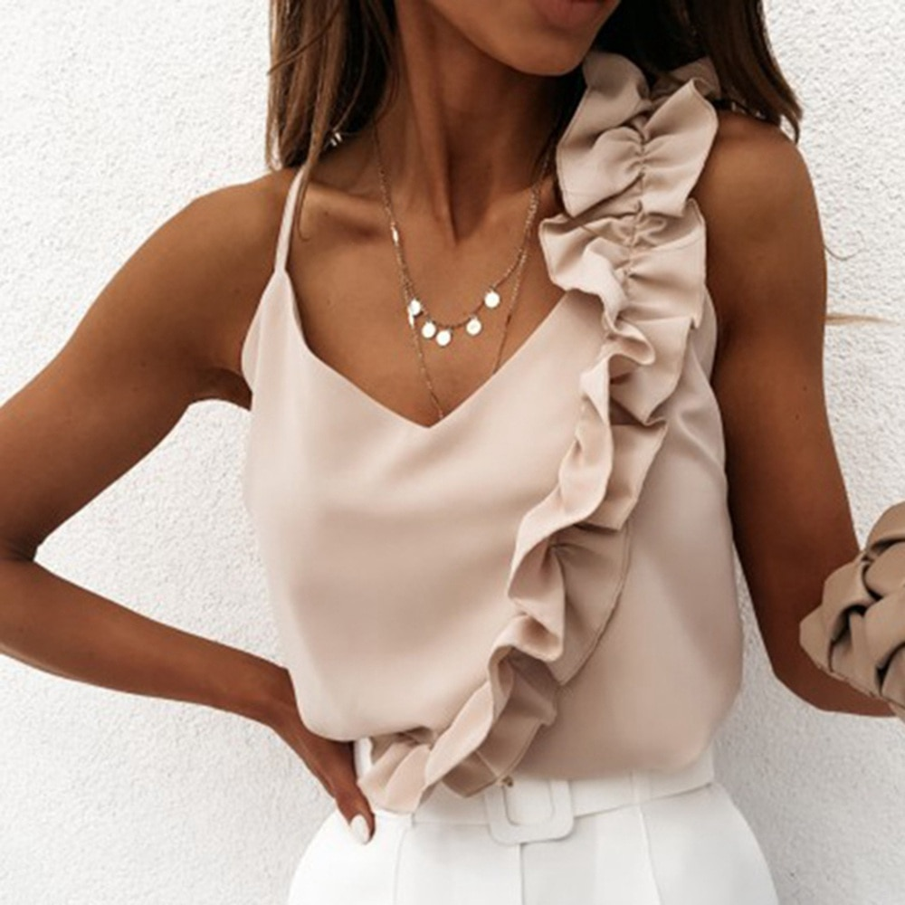 Laamei Women Summer Blouse Shirts  V Neck Ruffle Blouses Backless Spaghetti Strap Office Ladies Sleeveless Casual Tops