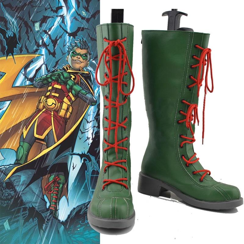 Disfraz comprar botas Damian Wayne Cosplay superhéroe Robin Zapatos verde Batman botas accesorios de Halloween hecho a medida