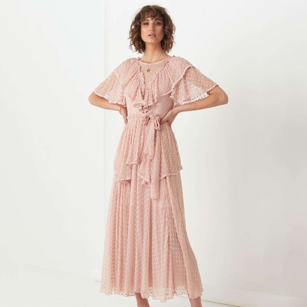 Sexy dos nu point dames robe Midi col rond à manches courtes volants Vintage Chic Vestidos été élégant décontracté soirée robe de soirée