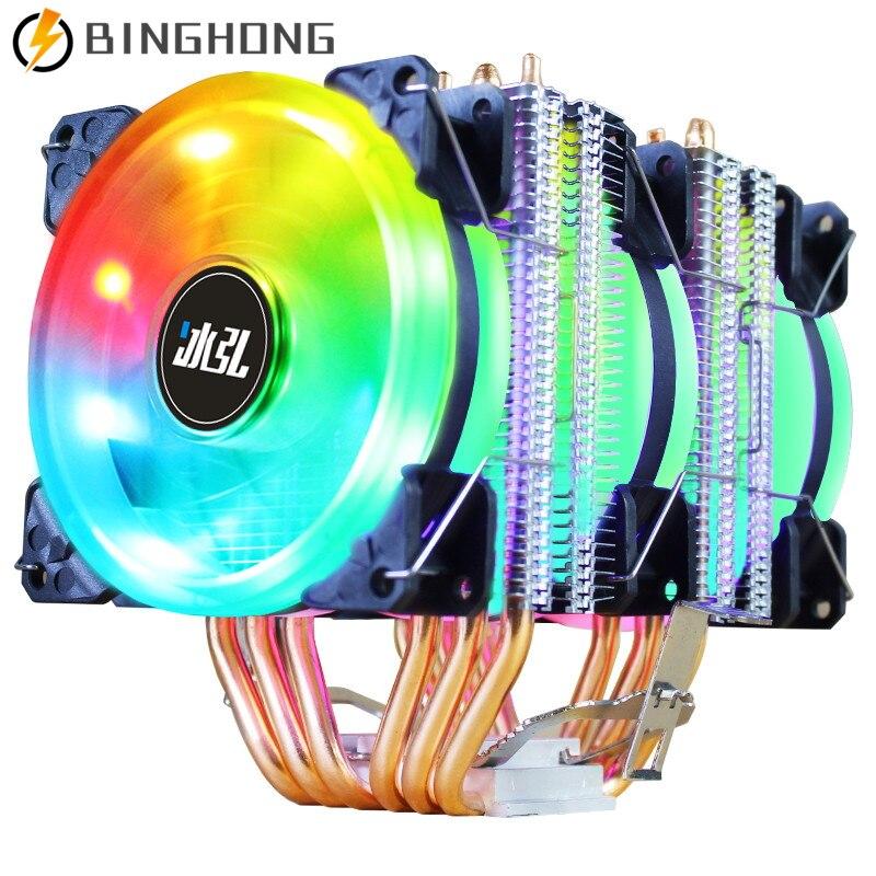 Binghk ARGB 4 دبوس وحدة المعالجة المركزية مبرد الهواء 6 أنابيب الحرارة زعانف الألومنيوم دفع سحب المزدوج المنجل تدفق ARGB المشجعين ل AMD Ryzen/إنتل 1200/1151
