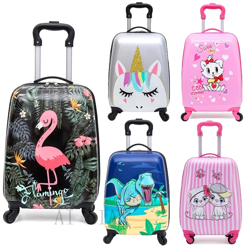 kids travel suitcase on wheels Cartoon rolling luggage Cute boy girls carry on cabin suitcase trolle