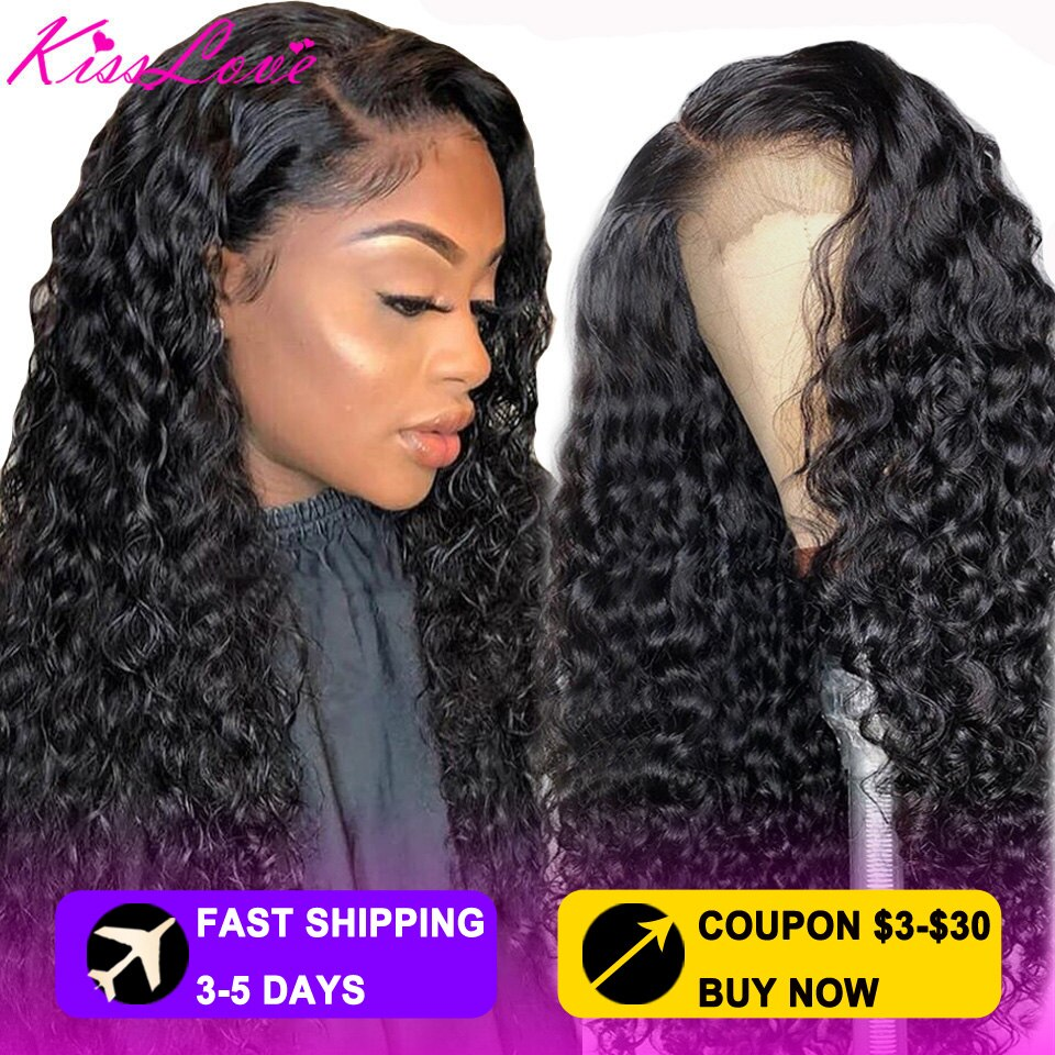 KissLove Deep Wave 13x6/13x4 Lace Front Human Hair Wigs for Black Women Prepluck Glueless Brazilian HD5x5 Swiss Lace Closure Wig