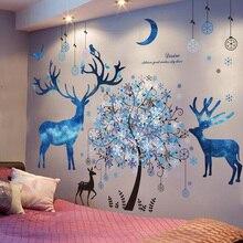 [Shijuekongjian] lune cerf animaux autocollant mural vinyle bricolage arbre flocons de neige stickers muraux pour salon canapé fond décoration