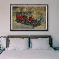 Peinture classique de voiture de course retro  voiture rouge 45  affiche en soie personnalisee  decoration murale  cadeau de noel  T010