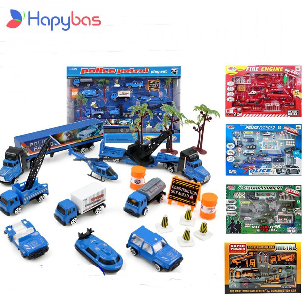 Конструктор полицейский, грузовик из сплава 1:64, модель боевого спасения, Классическая Игрушка, литая под давлением, автомобильный игровой н...