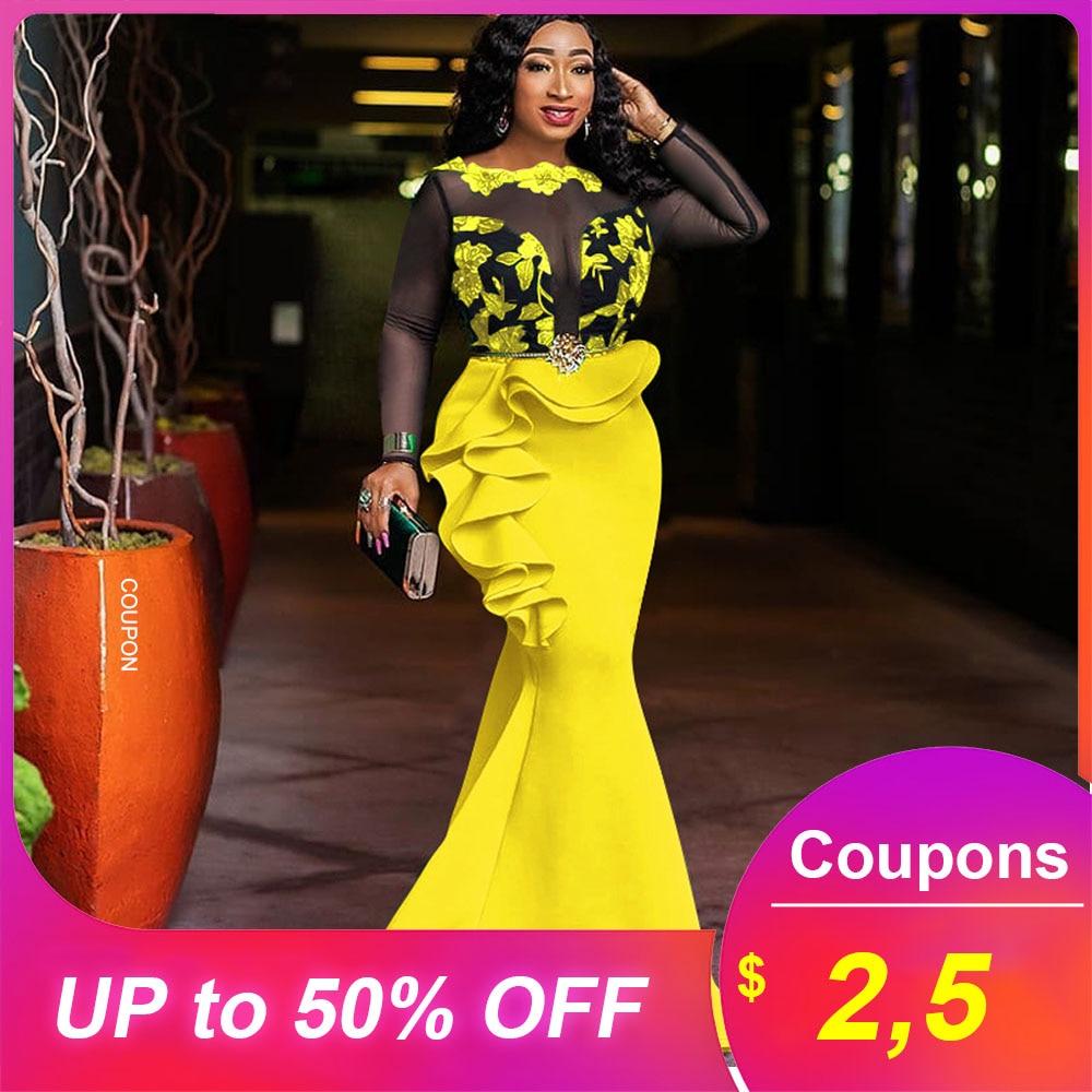 Jaune femmes sirène Robe Sexy chaude africaine 2019 Party Club longue Robe Maxi Robe élégant dîner Femme Vestiods Robe à volants