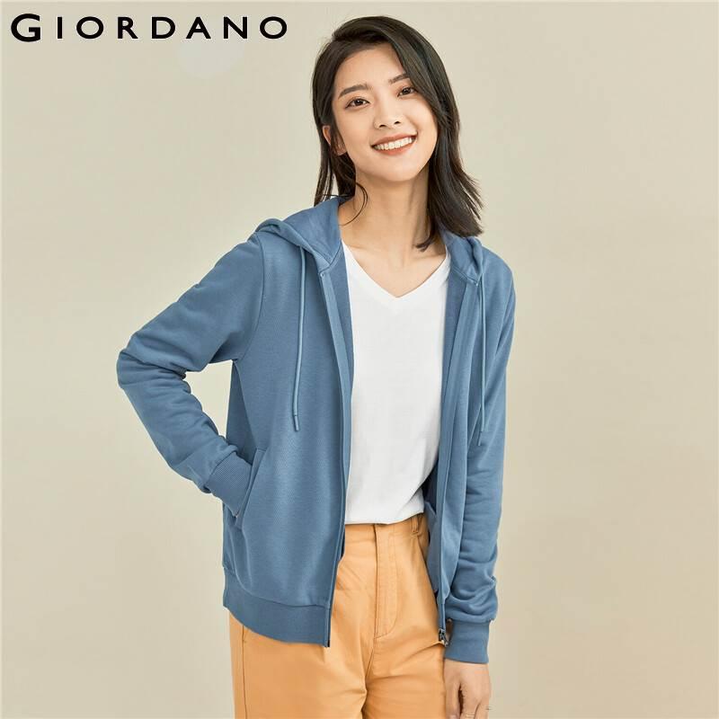 جيوردانو سترات نسائية لون سادة مفتوحة بلاكيت سترات بقلنسوة جيوب مائلة متينة عادية جاكت مزود بغطاء للرأس 05371861