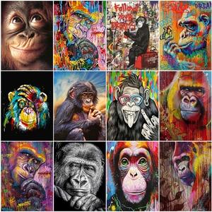 Animals Monkey  DIY 5D  Diamond Painting   Full Square/Round Diamond Embroidery Mosaic  Cross Stitch   Home Decoration