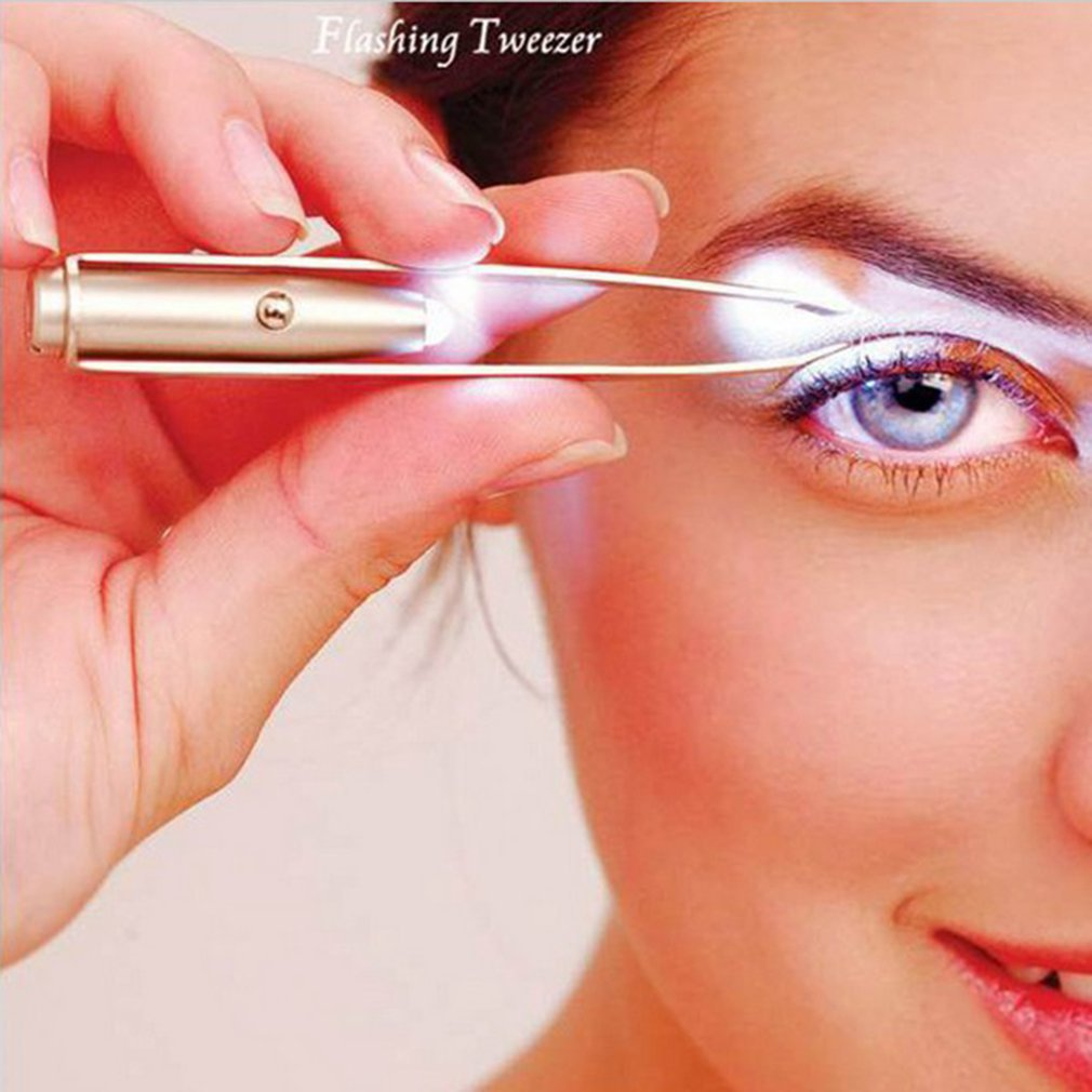 Pinzas para cejas profesional, pinzas de acero inoxidable inclinadas, pinza LED ceja clara, herramienta de maquillaje para pestañas
