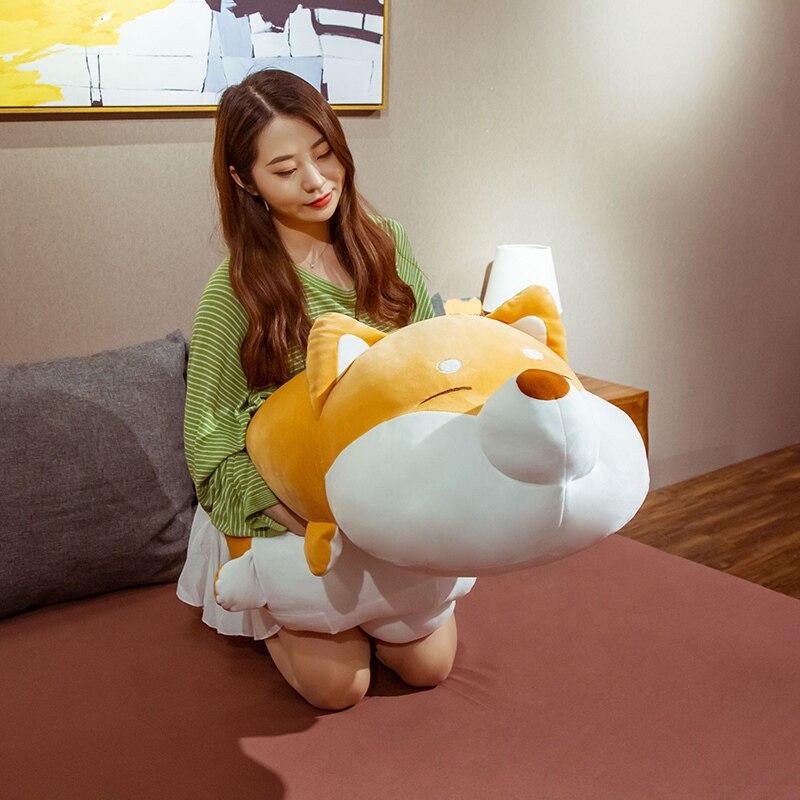 35-100CM Huge Fat Face Shiba Inu Stuffed Animal Plush Toy Dog Cute Husky Toy Pillows Kids Sleeping D