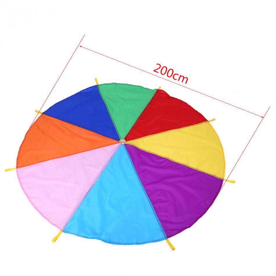 Superdiámetro 2M niño chico desarrollo deportivo al aire libre Arco Iris paraguas paracaídas juguete Jump-sack jugar paracaídas