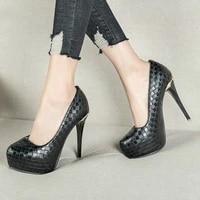 2021 new elegant pu pumps shoes for women lattice platform super thin high heels shallow ladies sexy four seasons pump shoes