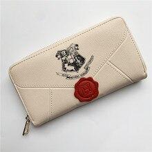 Cute Beige Letter School Long Wallet Zipper PU Wallets Fashion Purse Clutch Bag Handbag for Fans Cos