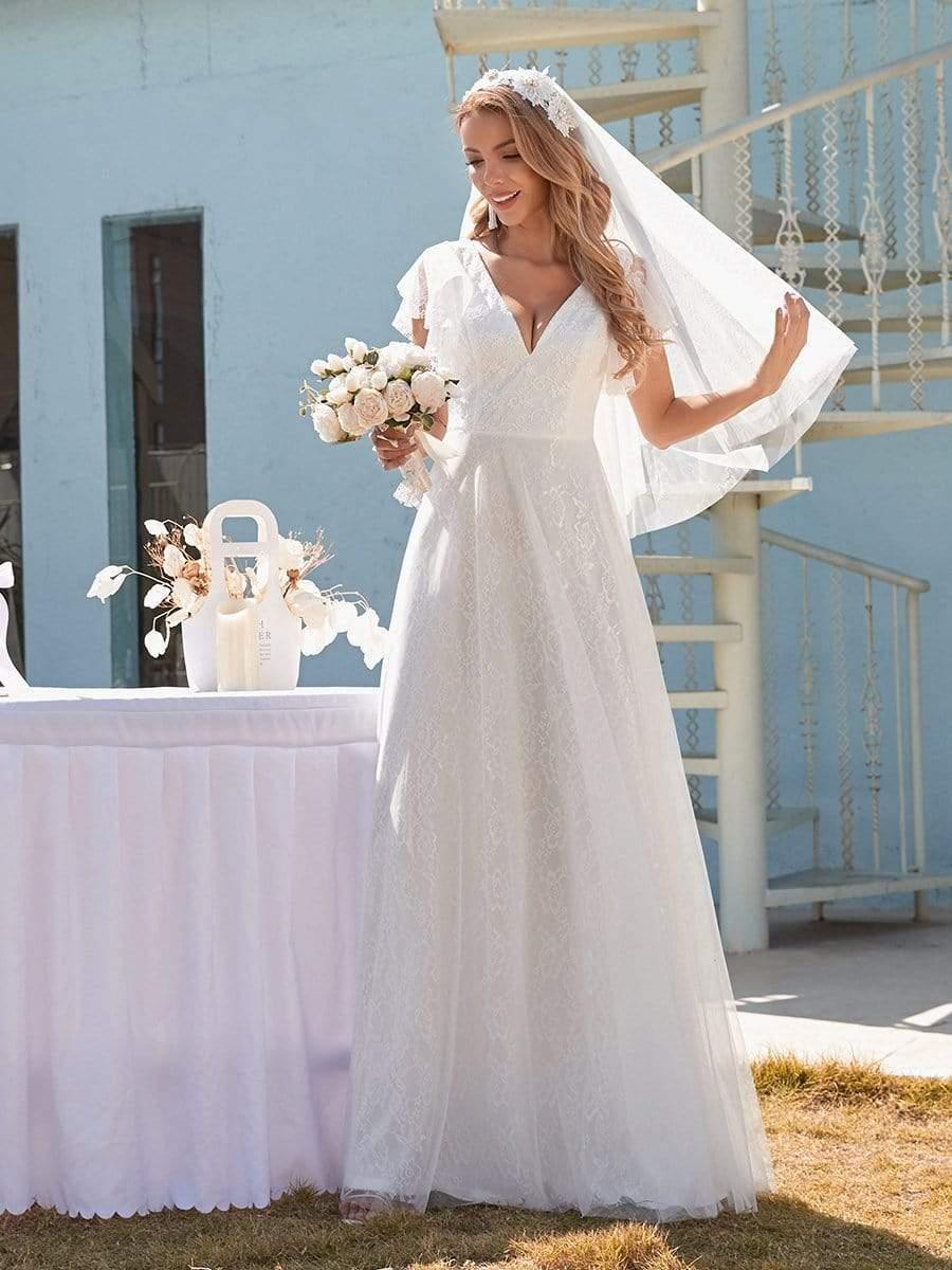 Review Vestido De Novia Vintage Wedding Dresses Tulle With A-line Floor Length Simple V-neck Sleeveless Bride Dresses Modest Lace
