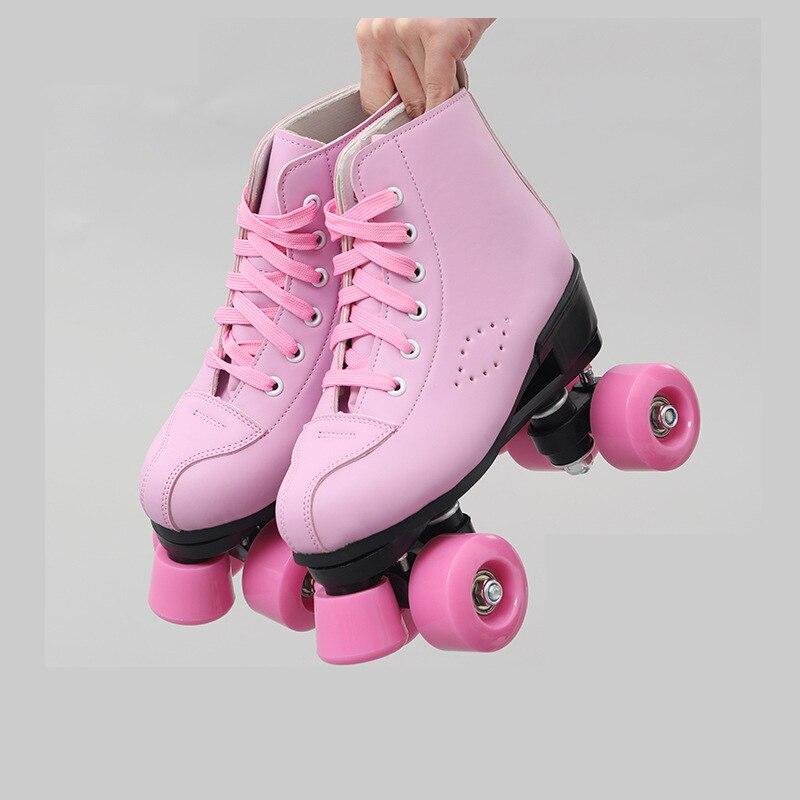 Роликовые коньки, двойные коньки, женские, мужские, взрослые, две линии, скейт, обувь, патины с ПУ, 4 колеса, Patins Pink