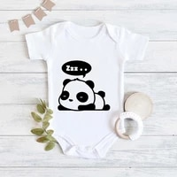 panda sleeping cute printed newborn baby pajamas cozy casual soft girl baby bodysuits summer home newborn baby boy clothes