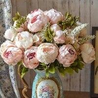 1 Bouquet de fleurs de pivoine artificielles  fausses feuilles europeennes  roses vives en soie de haute qualite  pour un Bouquet de decoration de mariage  pour la maison  lhotel