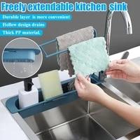 Evier telescopique egouttoir de cuisine  panier de rangement  robinet eponge support de salle de bains reglable  accessoire de cuisine