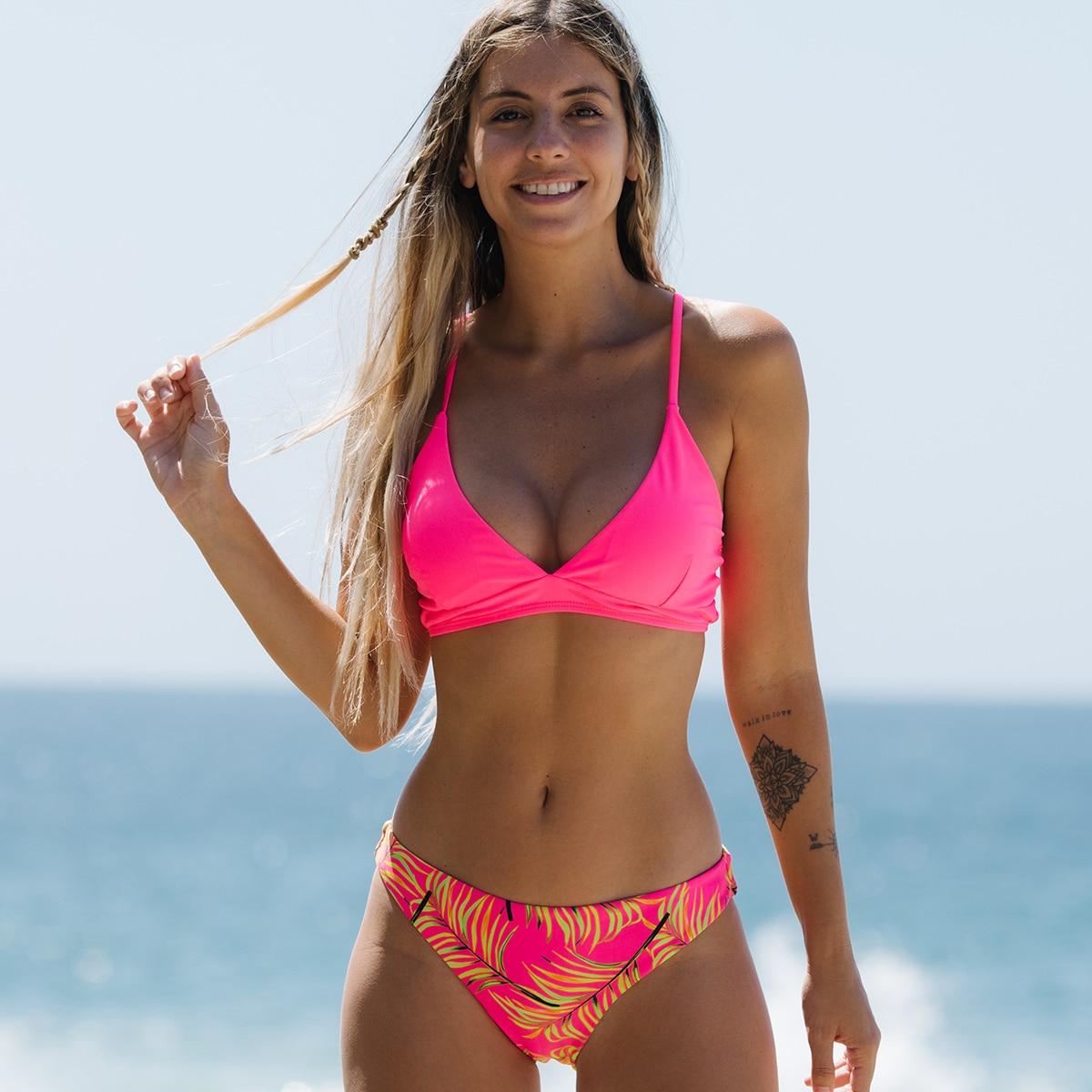 new knot printed low waist two pieces bikini set swimsuit female women beachwear swimwear bather bathing suit nybycacl 2021 New Pink Printed Low Waist Two Pieces Bikini Set Swimsuit Female Women Beachwear Swimwear Bather Bathing Suit