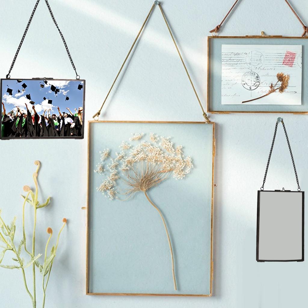 Винтажная двухсторонняя стеклянная подвесная фоторамка, фоторамка с цветами, растениями, портретной картиной, настенная рамка, украшение для дома 5 х10 см из меди
