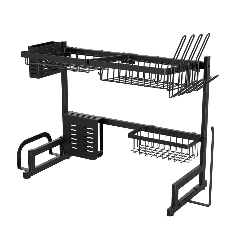Drainer Shelf for Kitchen Drying Rack Organizer Supplies Storage Frap Rack Drain Basket Stainless Steel Black