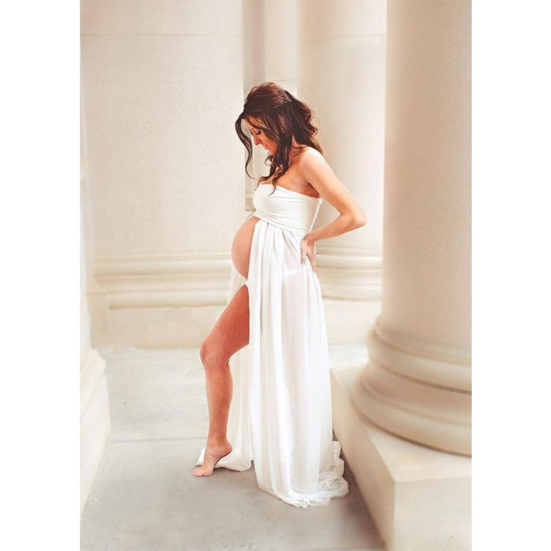 Sexy Black White Maternity Dresses for Photo Shoot Photography Props Women Pregnancy Dress Lace Long Strapless Maxi Dress enlarge