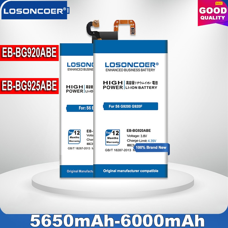 6000mAh EB-BG920ABE For Samsung S6 Edge Battery G9250 G925F G925S / EB-BG925ABE For GALAXY S6 Battery SM-G920 G9208 G920F G920A