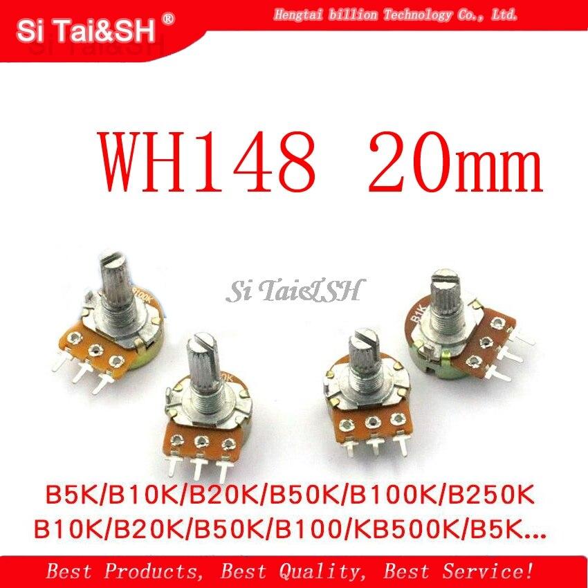 2 шт./лот WH148 20 мм усилитель вала двойной стерео потенциометр B1K B2K B5K B10K B20K B50K B100K B500K 3Pin 1K 2K 5K 10K 50K 100K