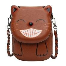 Explosion printing mobile phone bag 2019 new cartoon cute kitten female bag tide shoulder slung chain bag