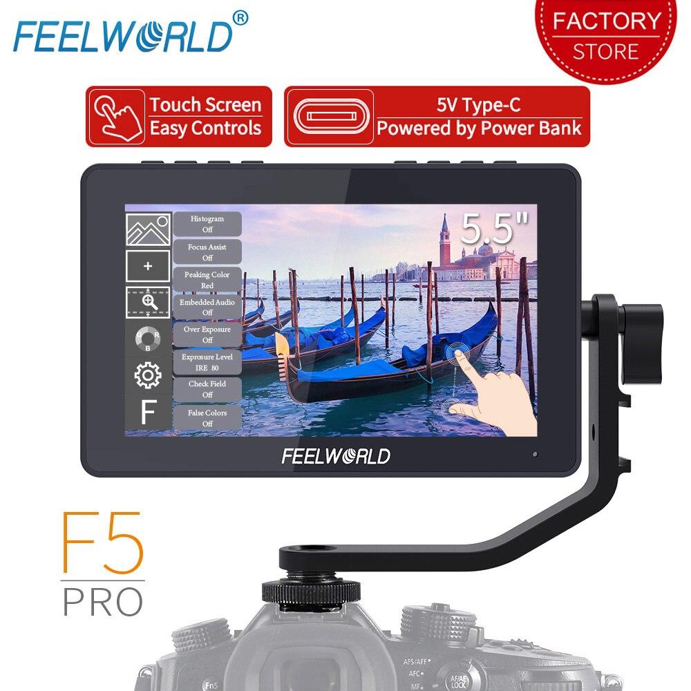 FEELWORLD-شاشة تعمل باللمس الميدانية لكاميرا F5 Pro ، 4K ، HDMI ، 5.5 بوصة ، Full HD ، 1920x1080 ، IPS ، DSLR ، مثبت الكاميرا