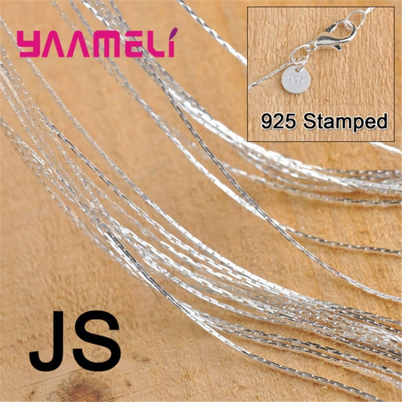 50PCS Wholesale 18 Inch Pure 925 Sterling Silver Jewelry Findings JS Link Necklace Chains Set Lobster Clasps For Pendant