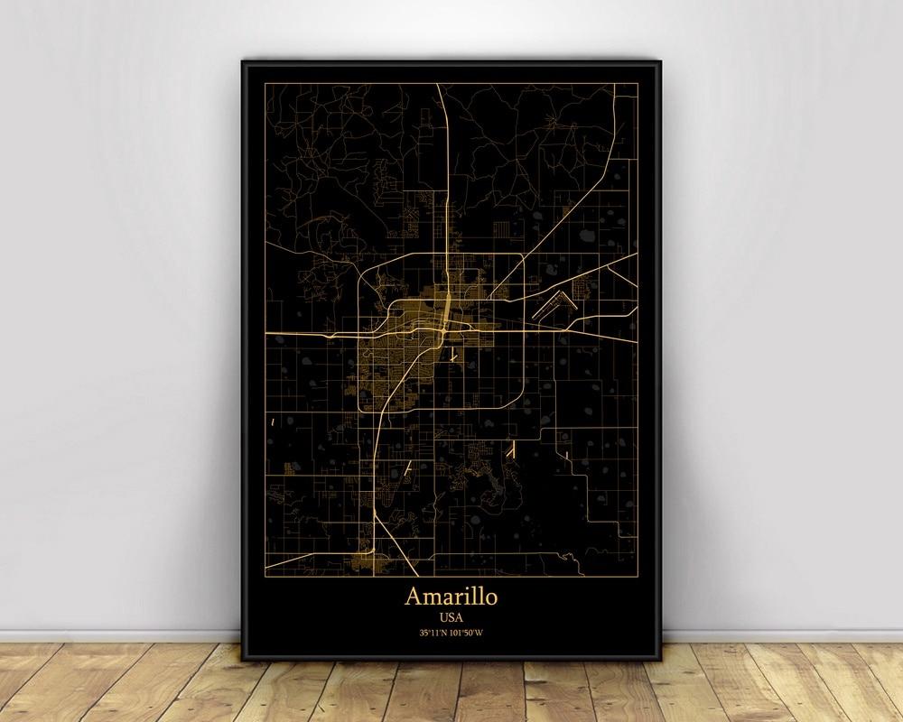 Amarillo USA negro y dorado Ciudad Luz mapas personalizado Mapa de ciudades...