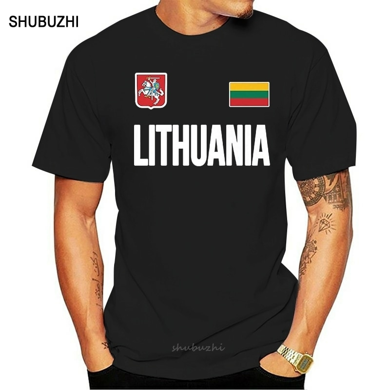 Shubuzhi hombres de manga corta Camisetas de moda diseños mejor venta hombres camiseta bandera lituana Fan de fútbol Jersey Lietuva camiseta