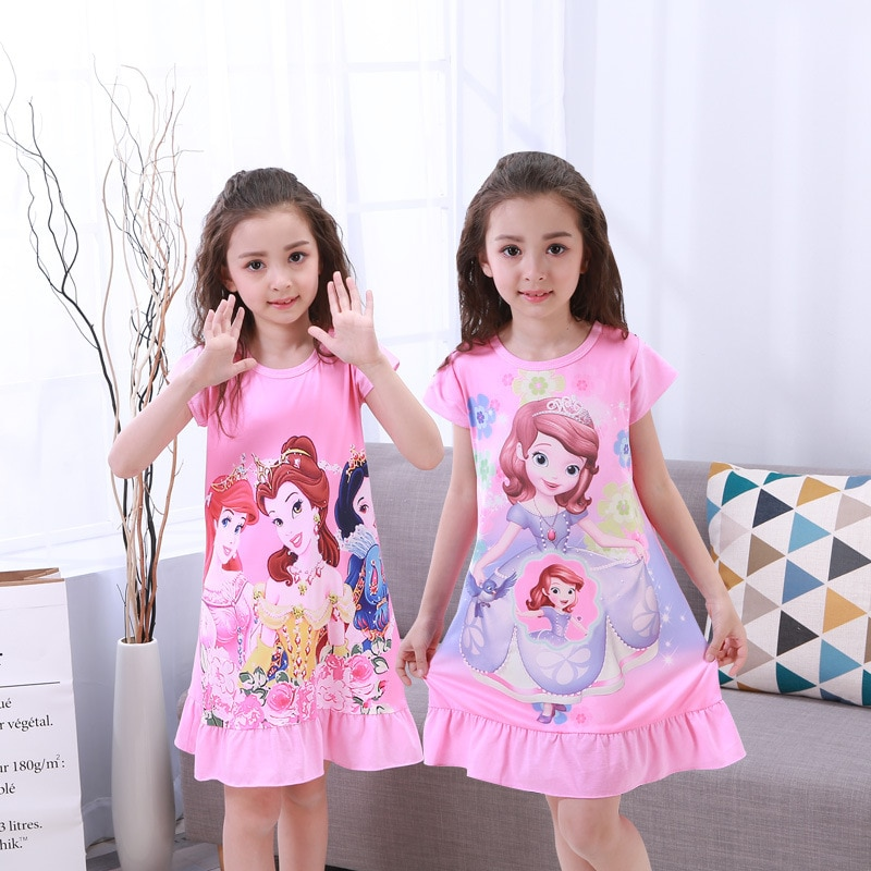 Платье принцессы Анны и Эльзы; Ночная рубашка для девочек; Летняя ночная рубашка с героями мультфильмов; Одежда для детей; Пижама с коротким...
