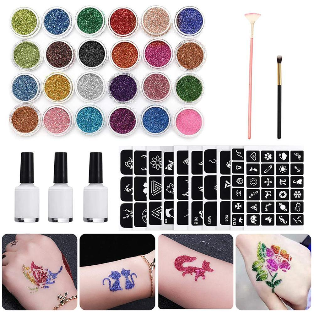 Glitter Tattoo Kits 24 Color 125 Templates Flash Diamond Flash for Temporary Tattoo Set Kids Face Body Painting Art Tools Set