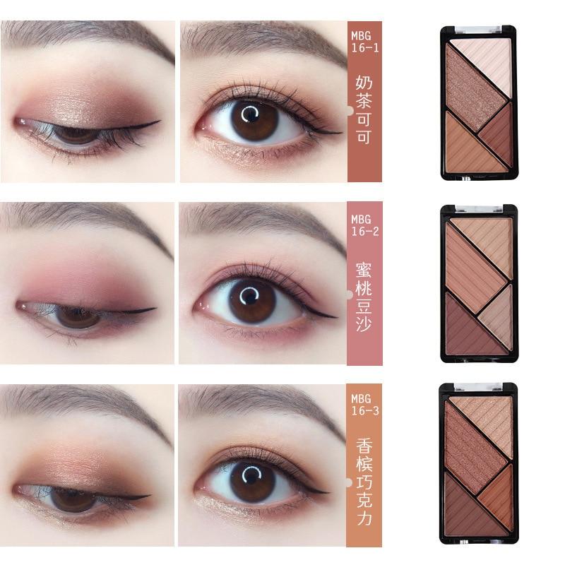 Sombra de ojos de cuatro colores compacta Rosa calabaza naranja marrón vino rojo cuentas para pegar Micro Flash mate 4 colores sombra de ojos