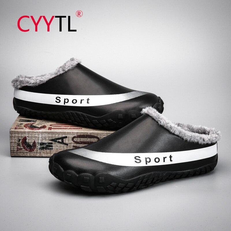CYYTL-Zapatillas De piel sintética para hombre, zapatilla con interior cálido, impermeable, Casa,...