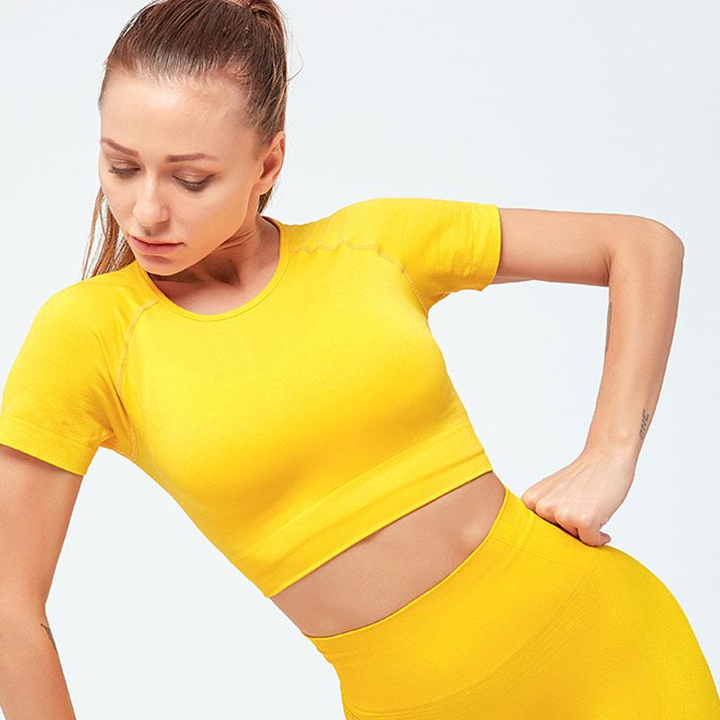 2019 camiseta sin costuras para mujer, camiseta para mujer, suéter para mujer, jersey de Fitness, gimnasio, Top, Tops de entrenamiento para mujer, Camiseta deportiva para mujer