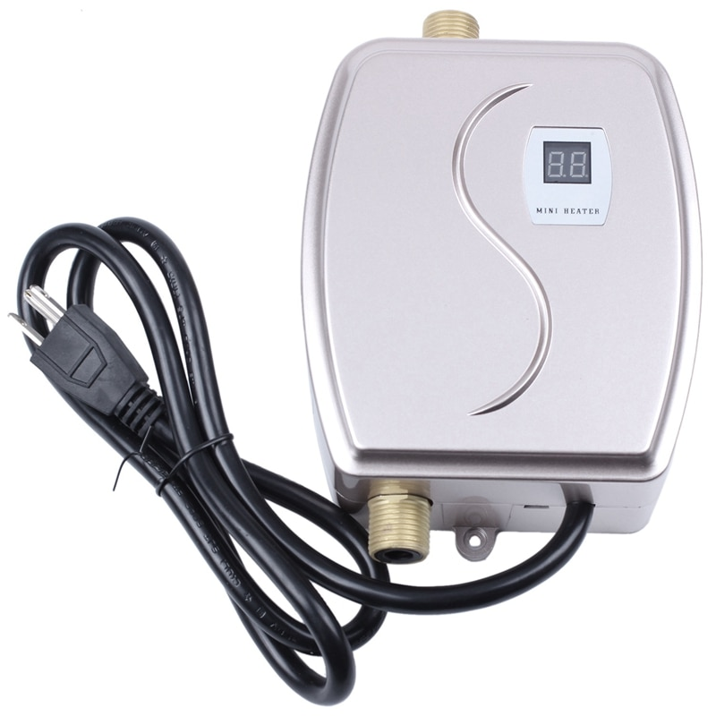Calentador de agua de 3000W, Mini grifo instantáneo sin depósito, termostato de calefacción de cocina inteligente, ahorro de energía, a prueba de agua, enchufe estadounidense, dorado