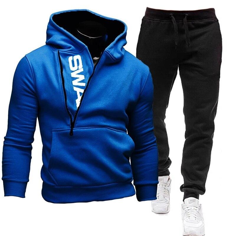 Спортивная одежда из 2 предметов, мужская спортивная одежда, спортивная одежда на молнии, Повседневная Толстовка s-3xl 2021
