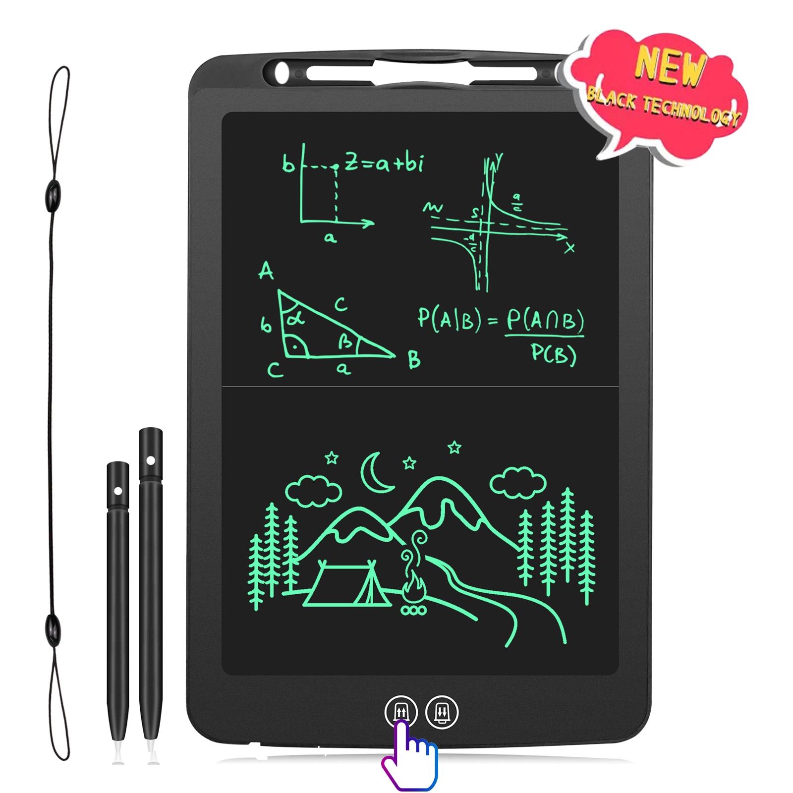 جهاز لوحي للكتابة بشاشة LCD مقاس 12 بوصة مع شاشة مقسمة ولوحة رسم وكتابة يدوية ولوحة خربشة مع لوحة ماوس وقواعد