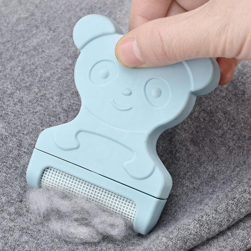1pc mini urso bonito handheld fiapos roupas camisola shaver fluff fuzz tecidos removedor portátil comprimidos pó pellets corte máquina