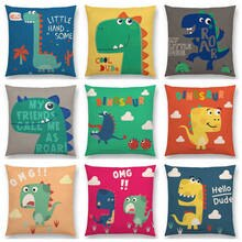 Cute Cartoon Dinosaur Funny Greetings Happy Life Smile Cool Word Daily Friendship Cushion Cover Sofa Beautiful Pillow Case