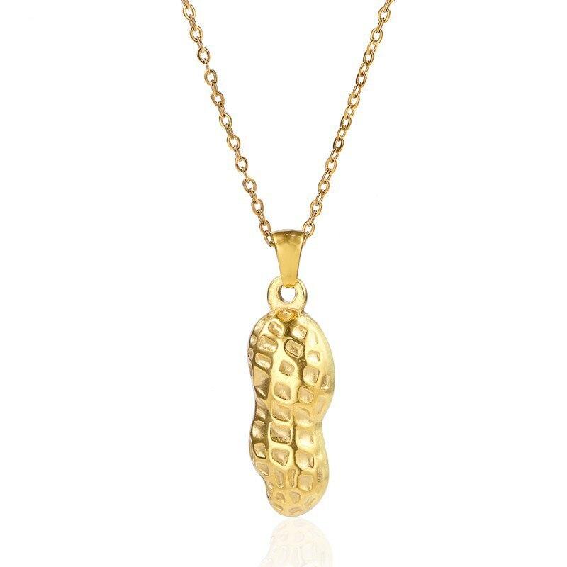 RIR Miniature noix cacahuètes breloques collier or acier inoxydable fermier cacahuètes coquille pendentif colliers pour femmes et hommes bijoux