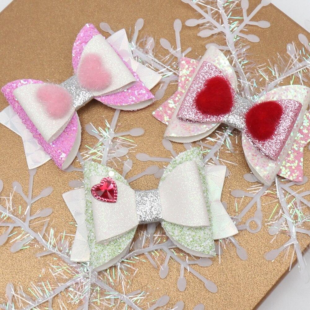 """3 """"lazos de pelo con purpurina pinza para el pelo para niñas Día de San Valentín horquillas cristal rojo corazón pompón Barrettes Niños Accesorios para el cabello"""