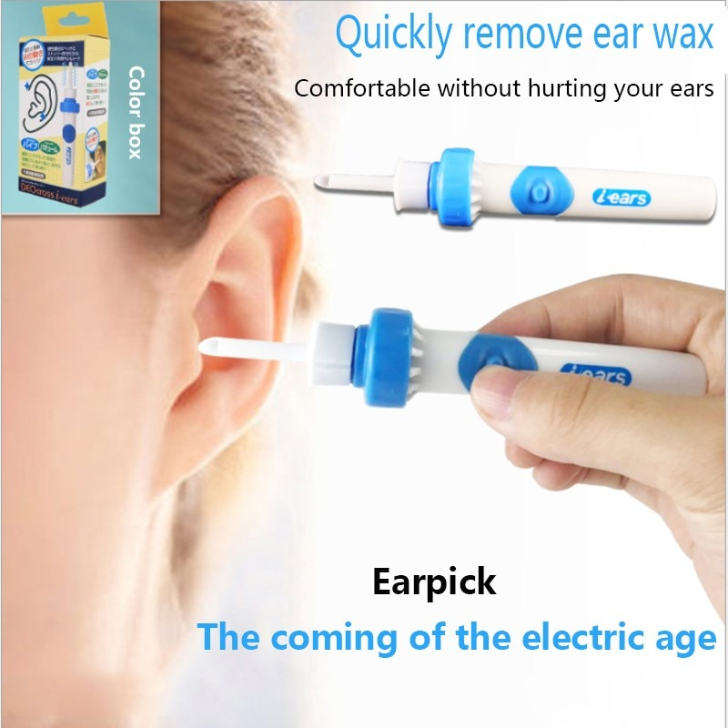 Electric Cordless Safe Vibration Painless Vacuum Ear Wax Pick Cleaner Remover Spiral Ear-Cleaning Device Dig Wax Earpick