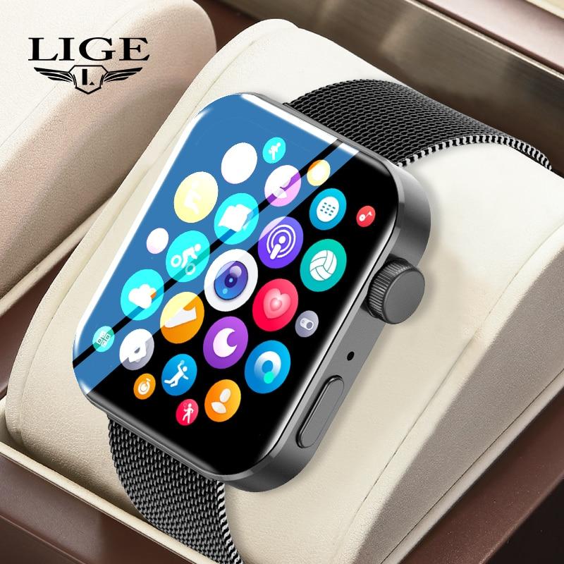 LIGE Men Women Smart Watch 1.72-inch Multi-sports Mode Fitness Tracker Bluetooth Call Smartwatch Hea