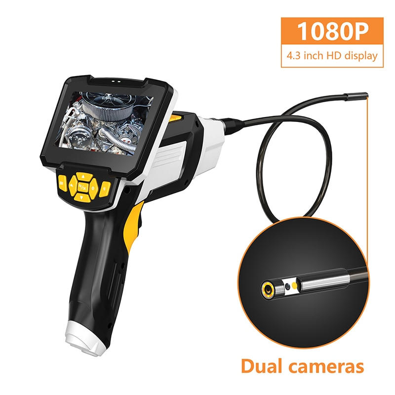 8mm Dual Lens Handheld Industrial Endoscope with 1080P 4.3 inch LCD Display IP67 Engine Drain Pipe Inspection Camera Rigid Cable